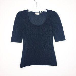 Anthropologie Deletta Athlone Knit Black Top